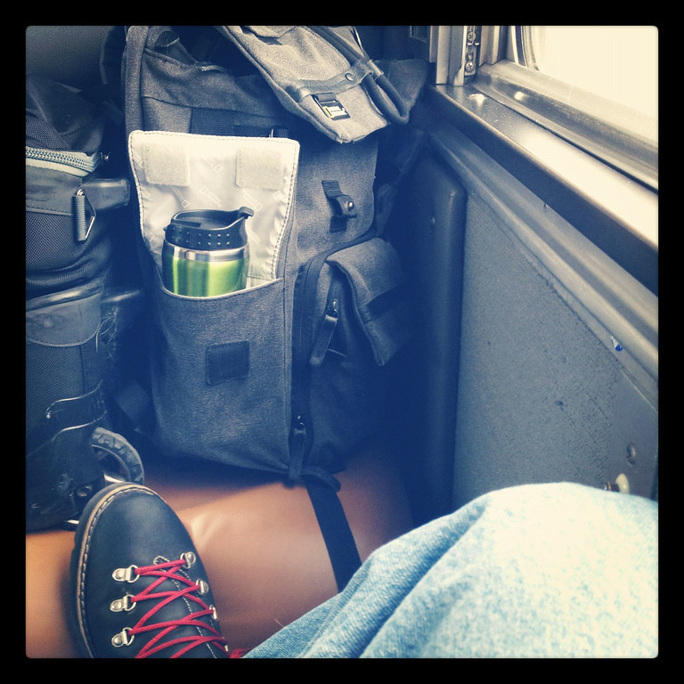 This is a snap of my cabin on the train, and my constant companions, a travel mug for coffee fixes, rugged Roots boots, and my backpack to hold all of my gadgets. This is the spot where all the shots were taken while on the train :)