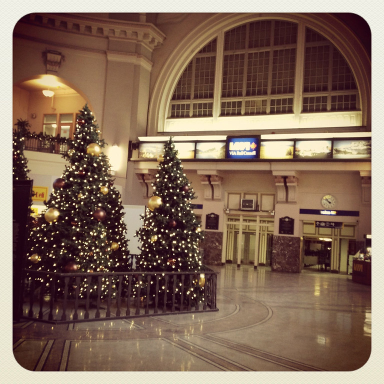 On the second morning of our trip to Vancouver we found ourselves in windy, bitterly cold Winnipeg, Manitoba.  We had a chance to get off the train for a bit and wander about.  I loved the main lobby of Winnipeg's Union Station. Very Christmas-y!