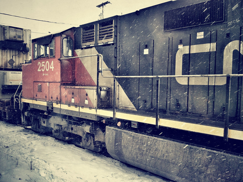 Freight trains were our constant companions on the rails. We typically had to pull aside to let these bruisers through. This was taken at a stop in Hornepayne, Ontario.