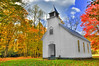 Historic church located in Great Smoky Mountains National Park using high dynamic range technique to capture autumn colors