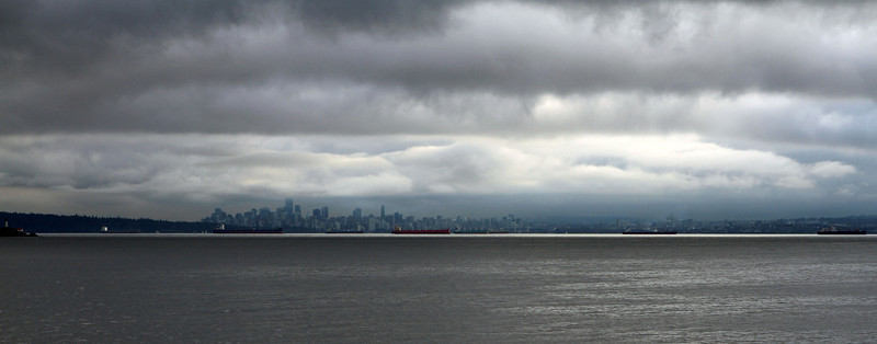 The view of the Vancouver skyline from the upper decks of the ferry from Horseshoe Bay to Nanaimo.
