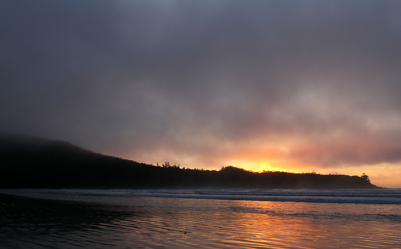 The fog rolled in making for an eerie sunset!