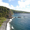 Here, just northeast of Mokulau, the Hana highway is one lane, and hugs the cliffs just above the ocean.