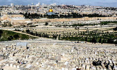 View of The Walled City of Jerusalem from Mount of Olives.