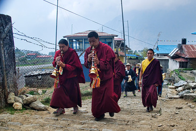 A buddhist procession in Lukla...