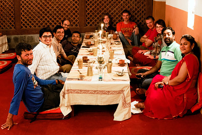 "All of us - having a fancy farewell dinner at the ""Royal Heritage"".  (L-R)Pralhad, Madhav, Rudra, Atul, Prashant, Natasha, Andrew, Marius, Michelle, Raja, Teja."
