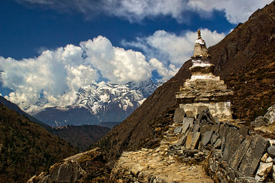 Such Chortens and Mani Walls are plentiful along the trail. Towards the bottom left, you can see the small town of TengBoche.