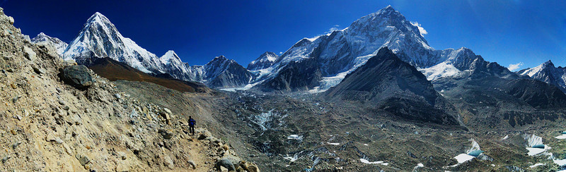A panorama of the Khumbhu Glacier on the right. Our trail went above it - on the side of mountains with some serious landslide potential!  Lhotse (8501m elevation) peak on the right, and Pumo Ri (7165m elevation) peak on the left. Mt.Everest is hidden behind Lhotse peak.