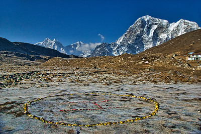 The colorful Helipad stones at Lobuche.