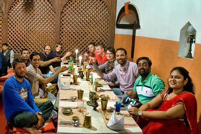 "All of us - having a fancy farewell dinner at the ""Royal Heritage"".  (L-R)Pralhad, Rudra, Atul, Prashant, Natasha, Andrew, Marius, Michelle, Chandra, Raja, Teja."