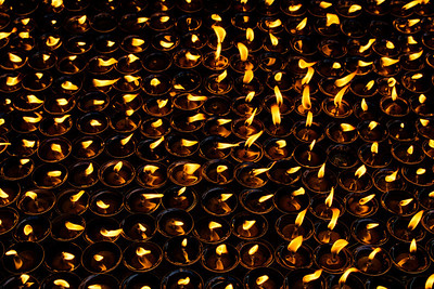 100s of lamps, keep the prayer flames alive @ Boudhanath Stupa, Kathmandu