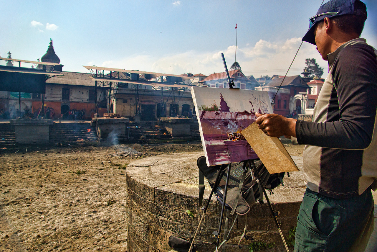 A painting of the cremation grounds near PasupatiNath temple,, Kathmandu