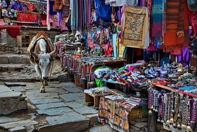 A busy shopping street in Namche Bazaar