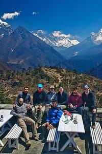 The gang @ Everest View Lodge, Khumjung.  (L-R) Prashant, Atul, Marius, Michelle, Rudra, Natasha, Pralhad, Andrew