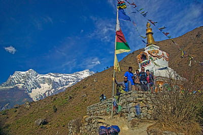 Part of the gang poses at a stupa on the way to Tengboche