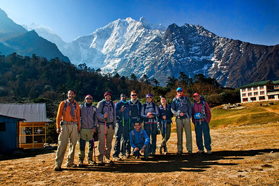 The entire gang! About to leave Tengboche and get above the tree line that day.  (L-R) Chandra, Atul, Prashant, Raja, Andrew, Rudra, Michelle, Natasha, Marius, Pralhad