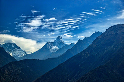 Our trail revolved around Ama Dablam - the mountain in the center. Loved the chopped up clouds trailing from it.