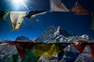 Ama Dablam - seen up close through the prayer flags