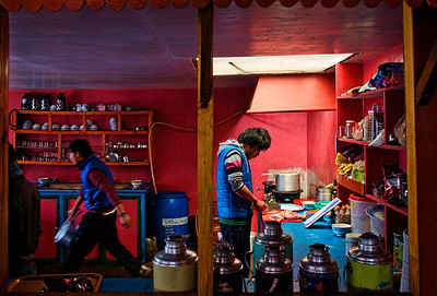 A lovely restaurant we stopped at on the way - Annapurna fast food at Pangboche. Loved the neatly organized kitched, the frenetic pace of cooking, the color of the walls, the reflected sunlight