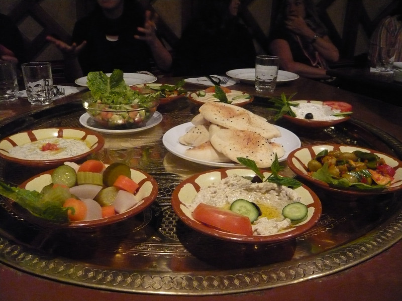 As you can see, we had much to choose from....hummus, marinated vegetables, bread, sausages, baba ghanoush (a delicious eggplant spread) and more...