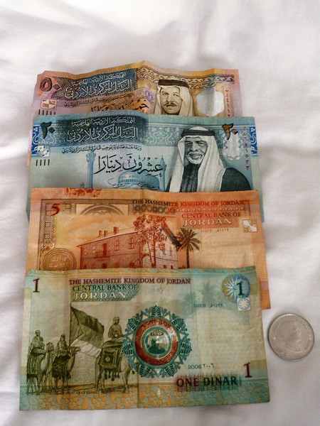 Jordan Dinars (pronounced dee-nars) or JOD. In 1950, the dinar replaced the Palestinian Pound as the national currency.