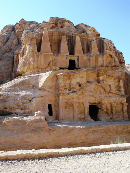 This is one of the first tombs we saw on our visit the following day. It is known as the obelisk tomb. Obelisks were a common Nabatean funerary symbol and also give evidence to the Egyptian influence.