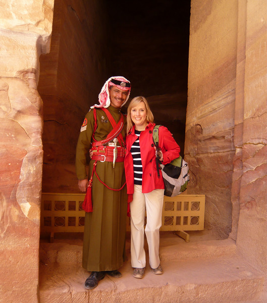 With one of the handsomely dressed Petra guards.