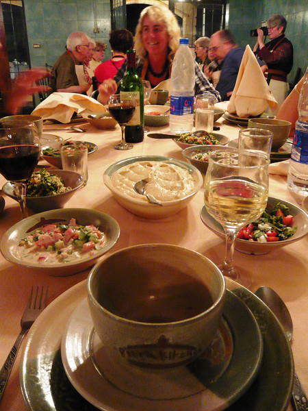 Dinner began with vegetable soup, followed by the Mezze or appetizers.