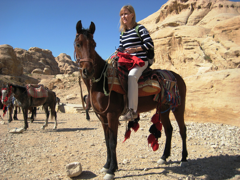 I rode a horse through the last section of the entrance. The ride was much appreciated after hiking around Petra all day!