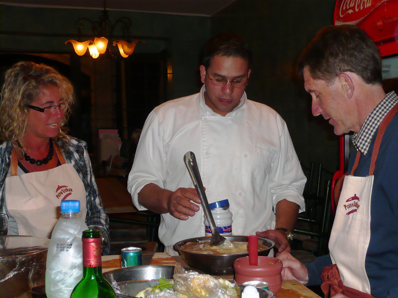 Sarah and Rob receiving instructions from one of the chefs.