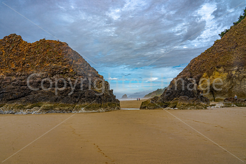 Arcadia Head and sea stacks on the coast