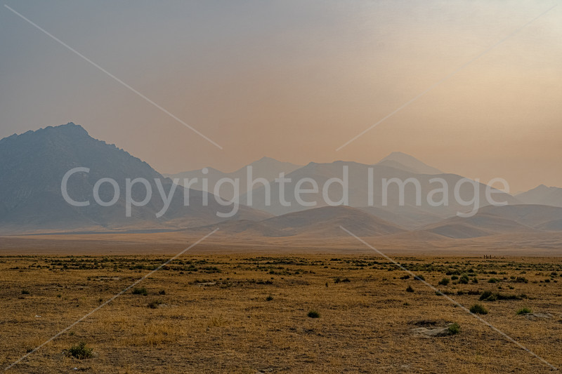 Smoke from California obscures the Nevada landscape
