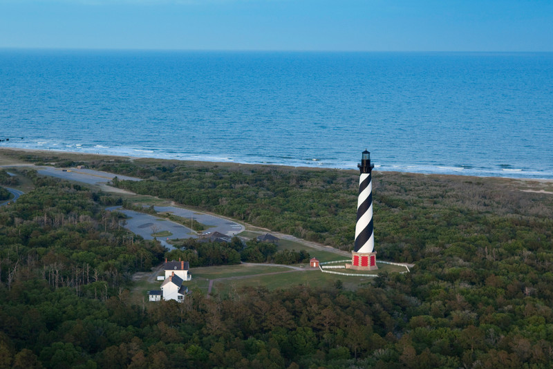 Aerial image of Hatteras Lighthouse.  Cape Hatteras National Seashore in the Outer Banks of North Carolina.