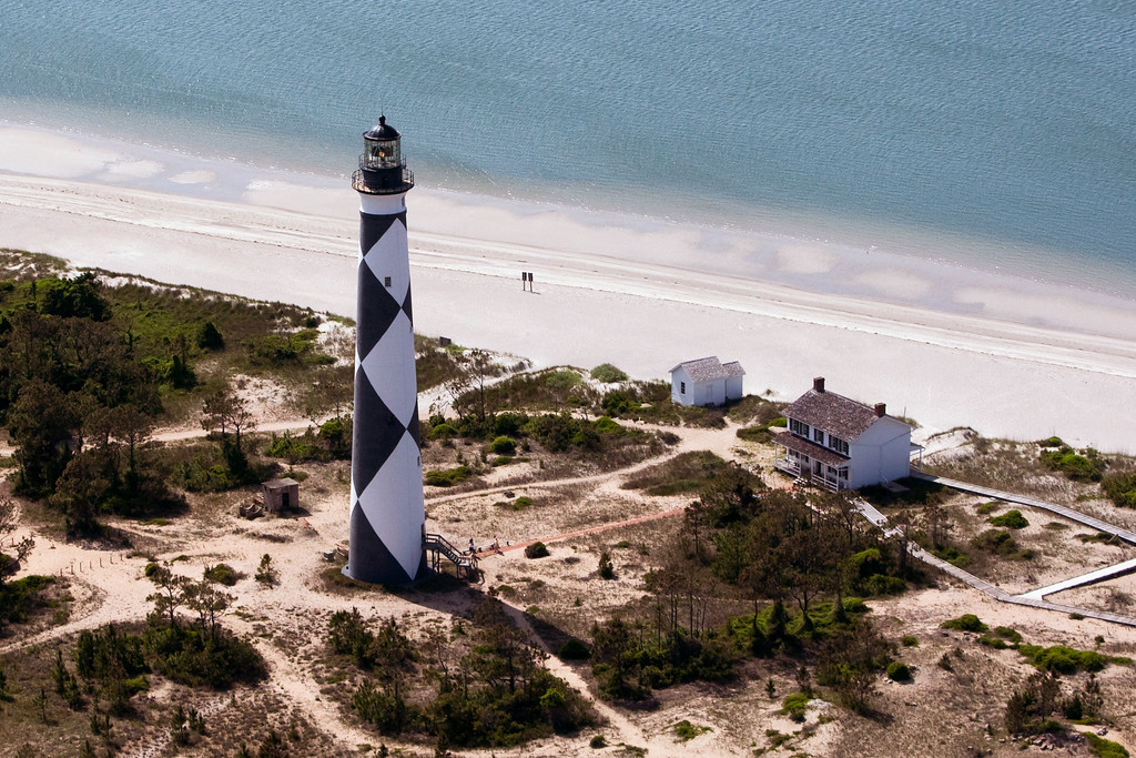Aerial view Cape Lookout Lighthouse and Cape Lookout.