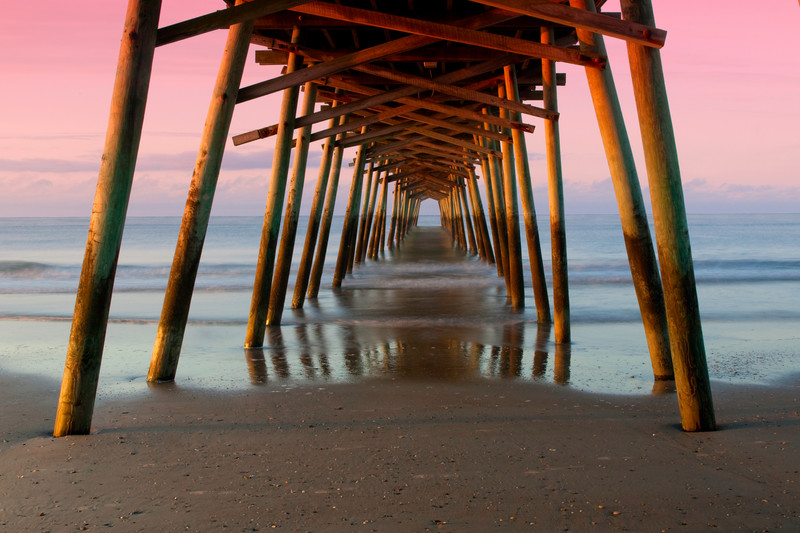 Bogue Fishing Pier in Emerald Isle, North Carolina.  This is the southern Outer Banks.