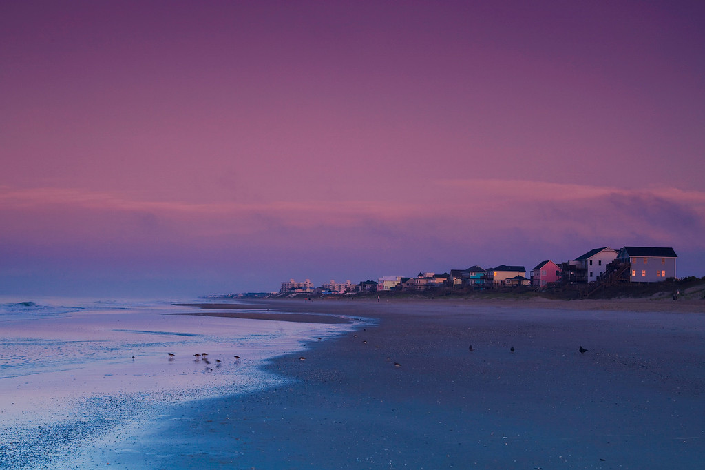 Western view of Emerald Isle Beach.  This image was taken just west of the pier.