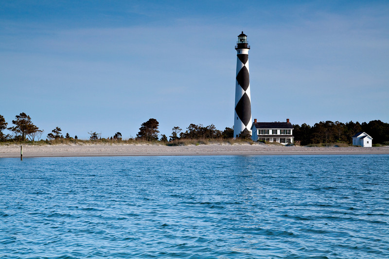 Water view of Cape Lookout Lighthouse from the water.