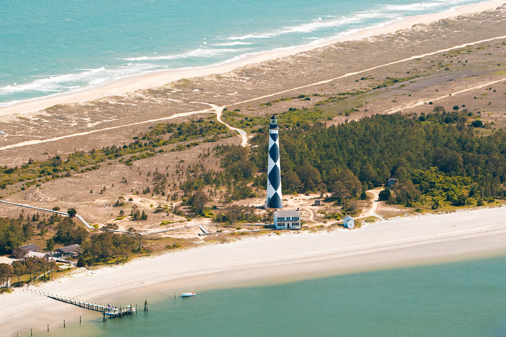 Aerial image of Cape Lookout Lighthouse.