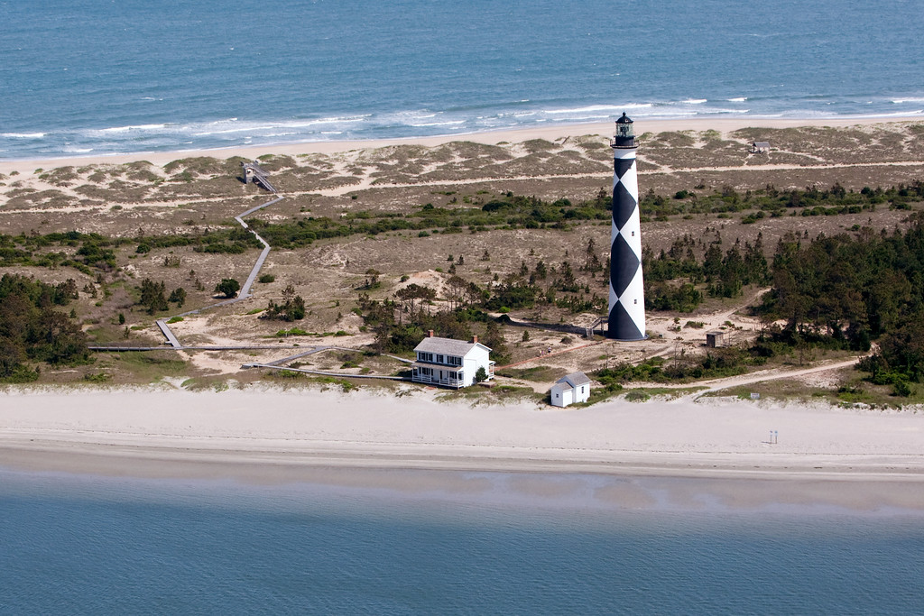 Aerial view of Cape Lookout Lighthouse.