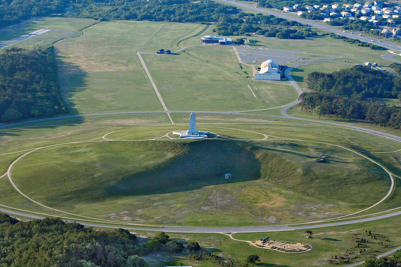Aerial view of the Wright Brothers Memorial in Kitty Hawk, NC.  This is the home of First Flight.