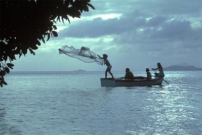 Throw net fishing, Truk Lagoon. January 1982