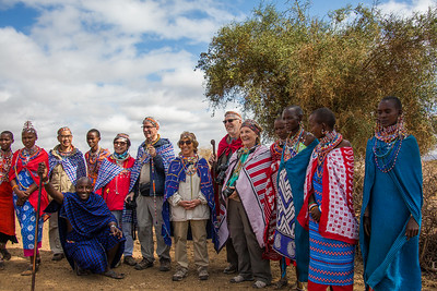 Fred, Jane, Mark, Joy, Steve and Joyce plus some Maasai women