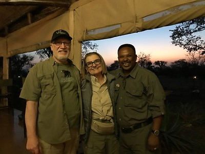 Steve, Joyce and Baricki at sunrise in the Serengeti