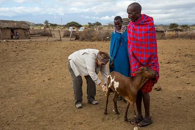 Joyce Milking a Goat