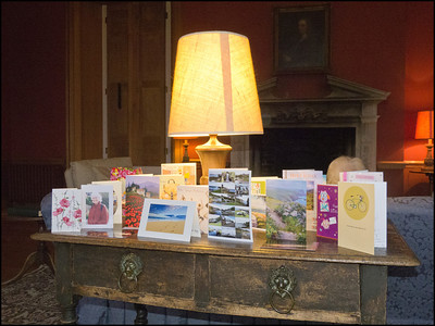 Jane's birthday cards displayed in the lounge