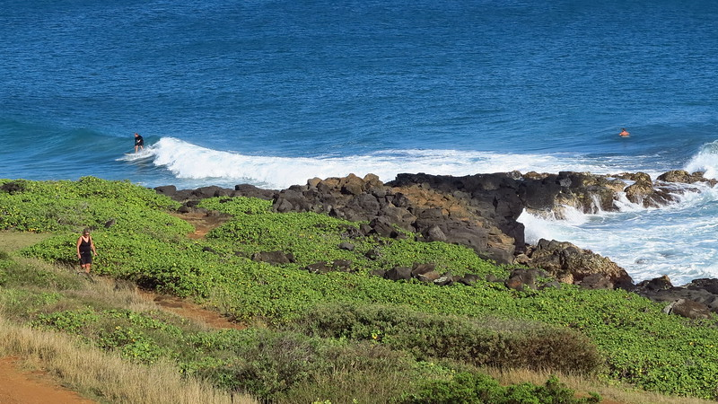Point at Poipu surfers