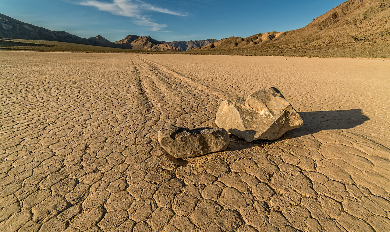 two rocks together on the racetrack playa