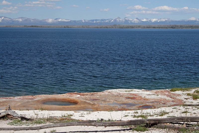 Looking over Yellowstone Lake and a small hot pot