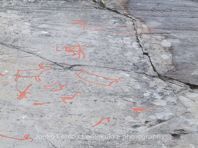 Rock carvings - reindeer, boats, birds and a hunter with a kill(?) : painted over for easier observation