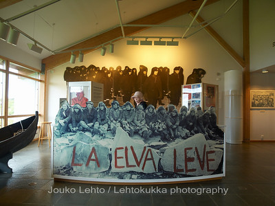 "Alta museum: The fight of the Alta river - ""Let the river live"". Demonstration against hydroelectric plant, and water reservoir building into Alta river."